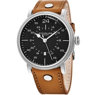 Stuhrling Original Men's Quartz Aviator Tan Leather Strap Watch