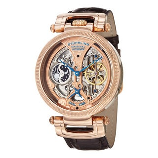 Stuhrling Original Men's Automatic Skeleton Dual Time Legacy Brown Leather Strap Watch