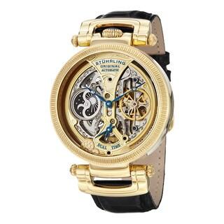 Stuhrling Original Men's Auotmatic Skeleon Emperor Luster Black Leather Watch
