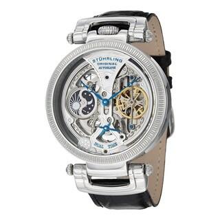 Stuhrling Original Men's Automatic Skeleton Emperor Luster Black Leather Strap Watch