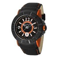 Stuhrling Original Men's Swiss Quartz Unidirectional Aquadiver Black Leather Strap Watch