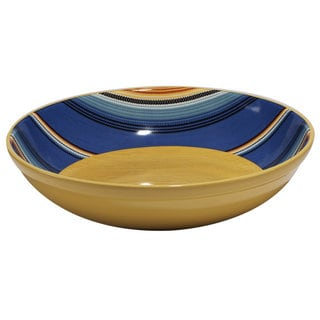 Certified International Pinata Blue/Yellow Ceramic Serving/Pasta Bowl