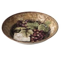 Certified International Gilded Wine Ceramic 14-inch x 2.75-inch Hand-painted Serving/Pasta Bowls