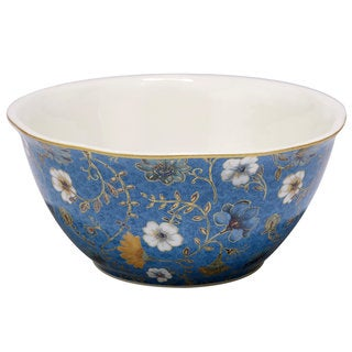 Certified International Exotic Garden Blue Ceramic 11-inch x 4.75-inch Deep Serving Bowl