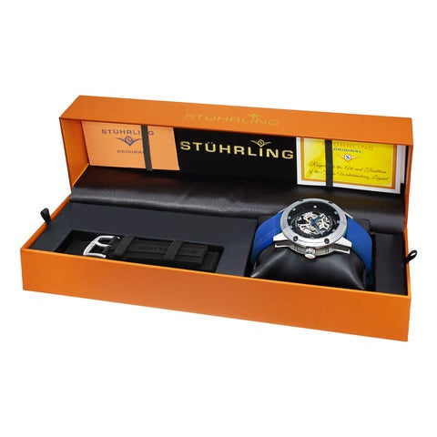 Stuhrling Original Men's Automatic Skeleton Legacy Blue Leather Strap Watch With Additional Black Rubber Strap