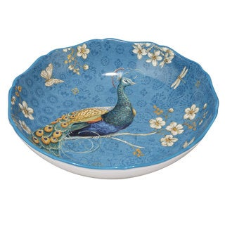 Certified International Exotic Garden Blue/White Ceramic 13-inch x 3-inch Serving/Pasta Bowl