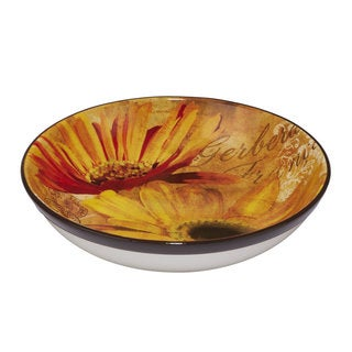Certified International Gerber Daisy Yellow/ Orange Ceramic Serving/ Pasta Bowl