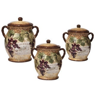 Certified International Gilded Wine Ceramic 3-piece Canister Set