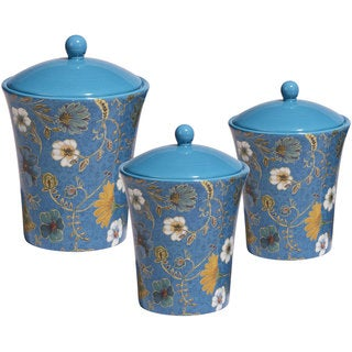 Certified International Exotic Garden Blue Ceramic Hand-painted Canisters (Set of 3)