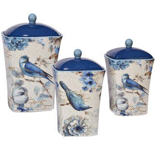 Certified International Indigold Hand-painted Canisters (Set of 3)