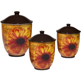 Certified International Ceramic Gerber Daisy Canister Set (Pack of 3)