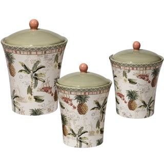 Certified International Floridian Ceramic 3-piece Canister Set