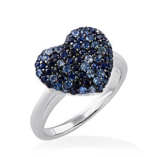EFFY 925 Sterling Silver 1 1/3ct Sapphire Heart Ring