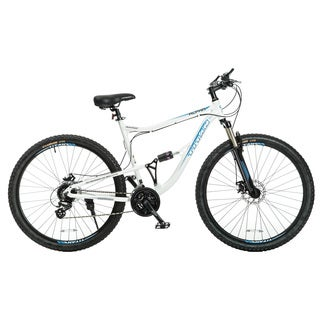 Titan Alpha White with Blue Decals Alloy-frame Front-suspension,21.5-inch Frame 24-speeds Mountain Bike