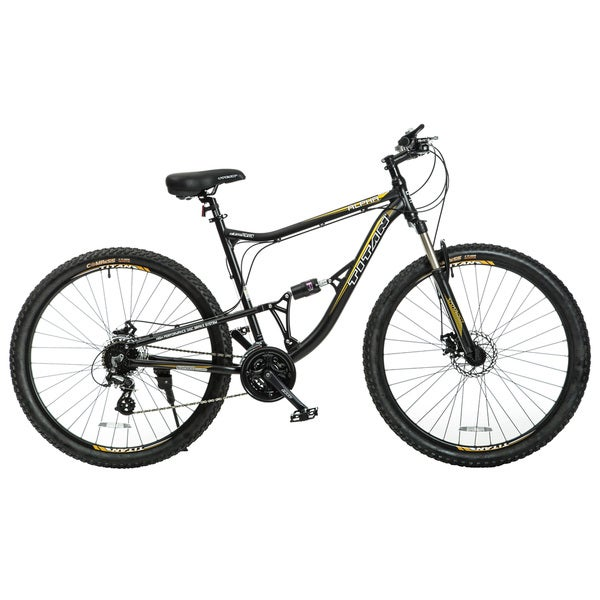 Titan Alpha Alloy-frame Matte Black with Yellow Decals Front-Suspension 21.5-inch Frame 24-speed Mountain Bike