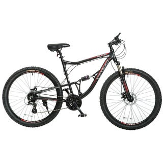 Titan Alpha Alloy-frame Mountain Bike with Front-Suspension, 21.5-inch Frame, 24-Speeds, Matte Black with Red Decals