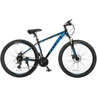 Titan Omega Glossy Black with Blue Decals Alloy-frame Front-suspension 17-inch Frame 24-speed Mountain Bike