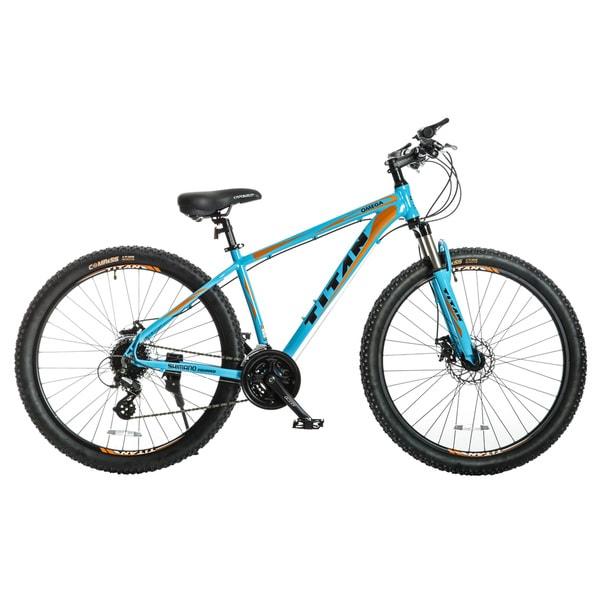 Titan Omega Blue/ Black/ Orange Alloy-frame Front-suspension 17-inch Frame 24-speed Mountain Bike