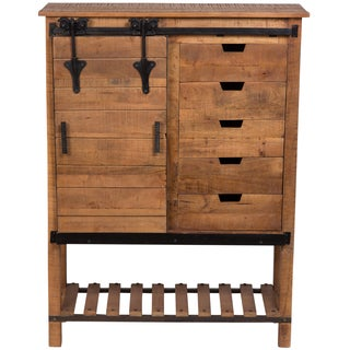 Wanderloot Barn Door Tall Cabinet with 5 Drawers 3 Shelves and Sliding Door and Cast Iron Accents