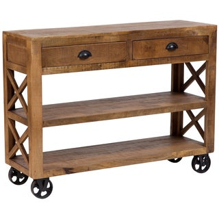 Wanderloot Barn Door Wooden Trolley Console Table with 2 Shelves and 2 Drawers and Cast Iron Wheels