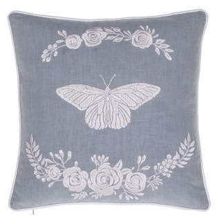 Blooming Butterfly Blue and White Cotton 17-inch Embroidered Throw Pillow