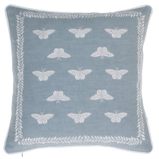 Summertime Meadow Blue/White Cotton Embroidered Throw Pillow