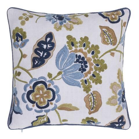 The Gray Barn Fox Run Cotton Climbing Flowers Embroidered Throw Pillow