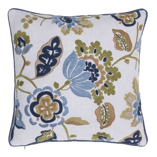 Cotton 17 x 17 Climbing Flowers Embroidered Throw Pillow