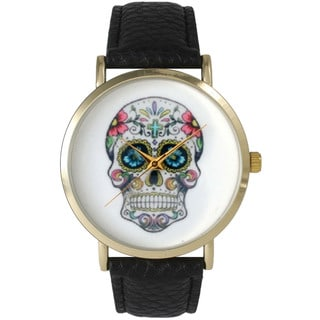 Olivia Pratt Women's Sugar Skull Leather Watch One Size