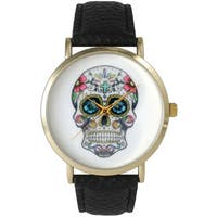 Olivia Pratt Women's Sugar Skull Leather Watch One Size