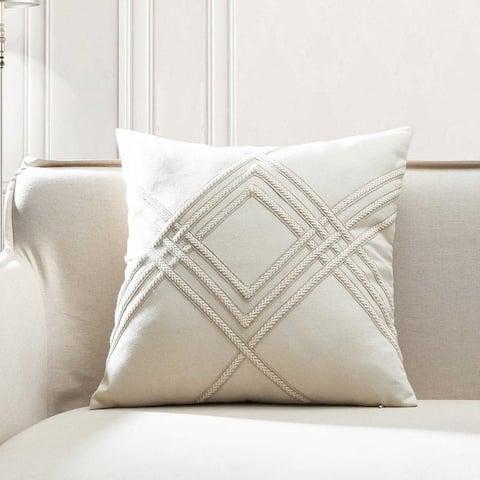 Lilli Woven Braided Cotton Linen Square Throw Pillow