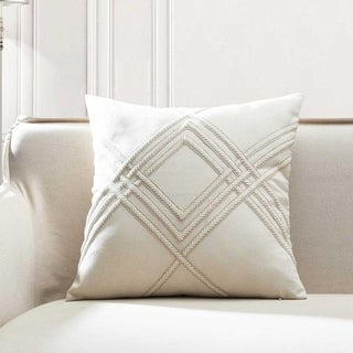 Lilli Woven Braided Cotton Linen Square Throw Pillow