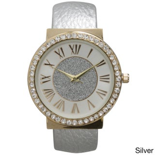 Olivia Pratt Women's Center Sparkle Roman Numeral Cuff Watch One Size