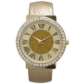 Olivia Pratt Women's Center Sparkle Roman Numeral Cuff Watch One Size