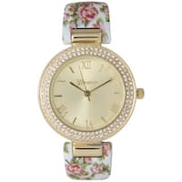 Olivia Pratt Women's Ceramic Floral Rhinestone Accented Bezel Cuff Watch One Size
