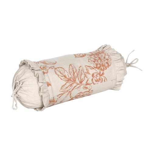Paisley Cotton French Country Embroidered 17 x 7-inch Bolster Pillow with Feather Down Insert
