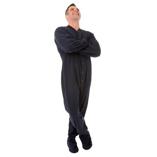 Big Feet Pajamas Unisex Adult Navy Fleece Footed Drop Seat One-piece Pajamas