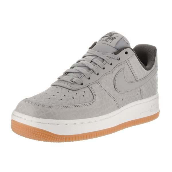 Shop Nike Women s Air Force 1  07 Prm Grey Leather Basketball Shoes ... 2235f2878c