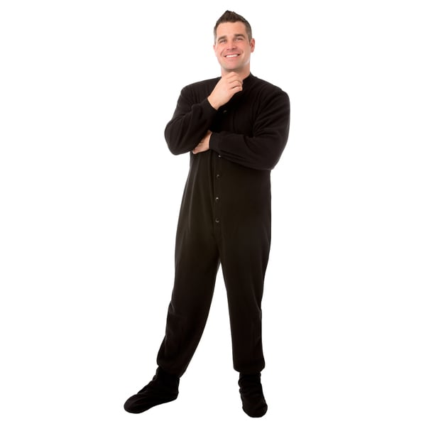 040626ce641d Shop Big Feet PJs Black Micro polar Fleece Adult Footed Pajamas with ...