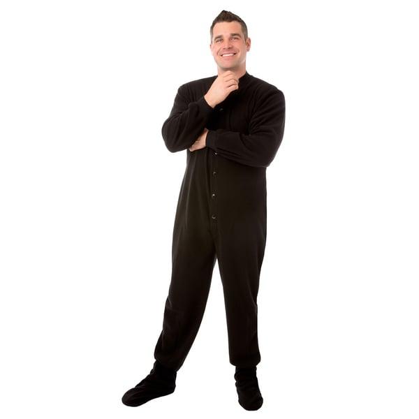 d06277081 Shop Big Feet PJs Black Micro polar Fleece Adult Footed Pajamas with ...