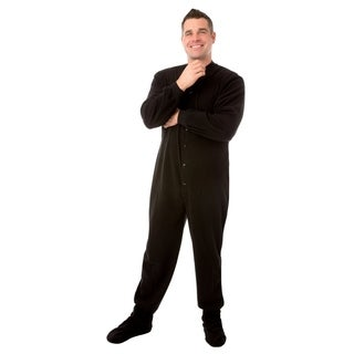 Big Feet Pajamas Unisex Adult Black Fleece Footed Drop Seat One-piece Pajamas