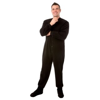 Big Feet Pajamas Unisex Adult Black Fleece Footed Drop Seat One-piece Pajamas
