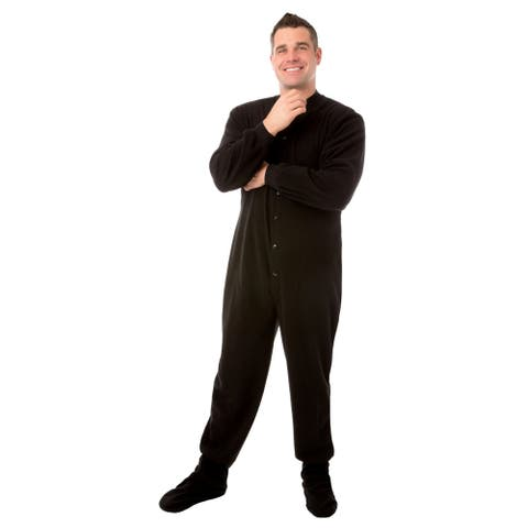 Big Feet PJs Black Micro-polar Fleece Adult Footed Sleeper Pajamas