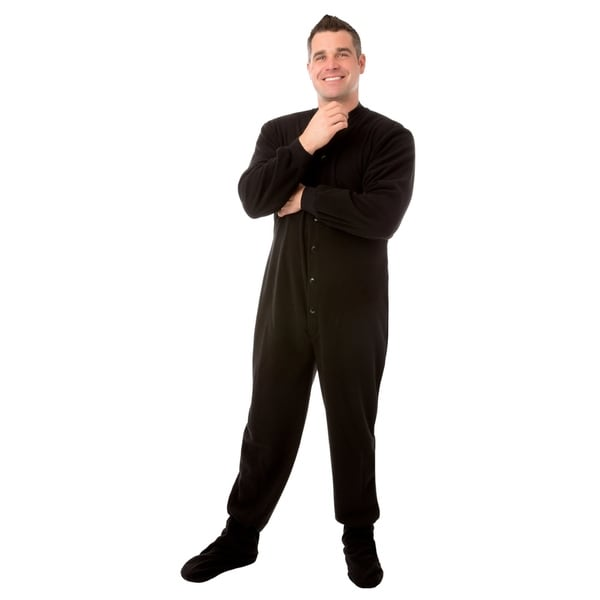 Big Feet PJs Black Micro-polar Fleece Adult Footed Sleeper Pajamas