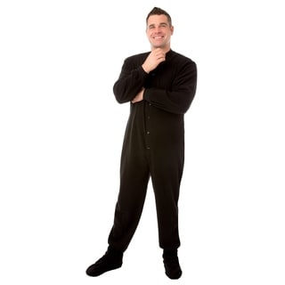 Big Feet Pajamas Unisex Black Fleece 1-piece Pajamas