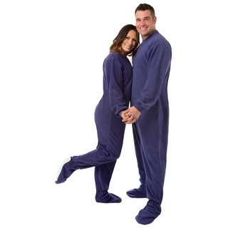 Big Feet Pajamas Unisex Purple Fleece Adult Footed Drop-seat One-piece Pajamas