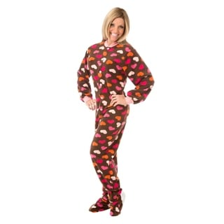 Big Feet Pajamas Unisex Adult Brown with Hearts Fleece Footed Drop Seat One-piece Pajamas