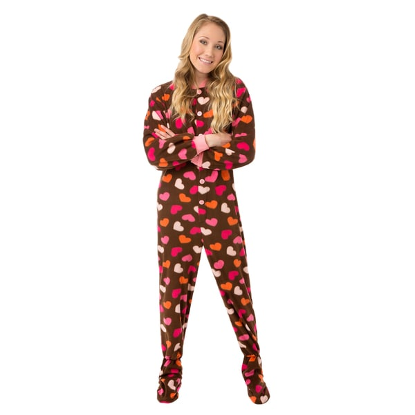 8747bf5968a6 Shop Brown with Hearts Fleece Unisex Adult Footed One-piece Pajamas ...