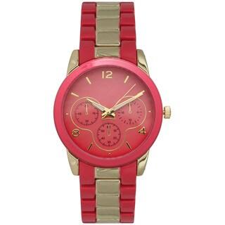 Olivia Pratt Women's Simple Faux Chronograph Bracelet Watch One Size - Red