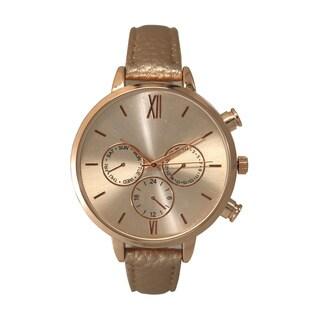 Olivia Pratt Women's Classic Style Faux Chronograph Skinny Leather Strap Watch One Size
